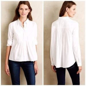Anthropologie Maeve Pleated Sutton Blouse White